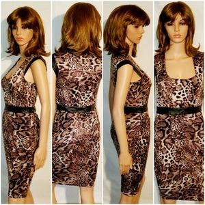 Bebe Summer Dress Animal Print Faux Leather Small